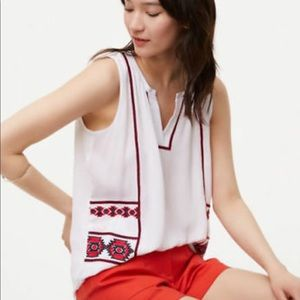 Tops - LOFT Ann Taylor embroidered gauze tank sleeveless